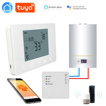 TUYA WiFi& RF Wireless Room Thermostat for Gas Boiler/Water/Floor Heating Remote Control