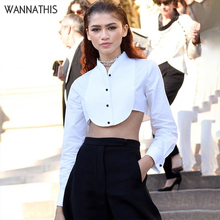 WannaThis Sexy Women Shirt Crop Top White Long Sleeve V-Neck Button Casual  Irregular Autumn Winter 2019 Elegant Blouse
