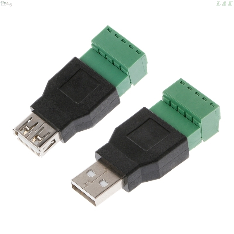 USB 2.0 Type A Male/Female To 5P Screw W/ Shield Terminal Plug Adapter Connector L29K