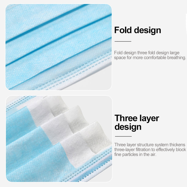 100 Pcs 3 Layer Disposable Mask Non-woven Mascarillas Dust Face Mask Thickened Disposable Mouth Mask Dust Filter Safety mascaras 4