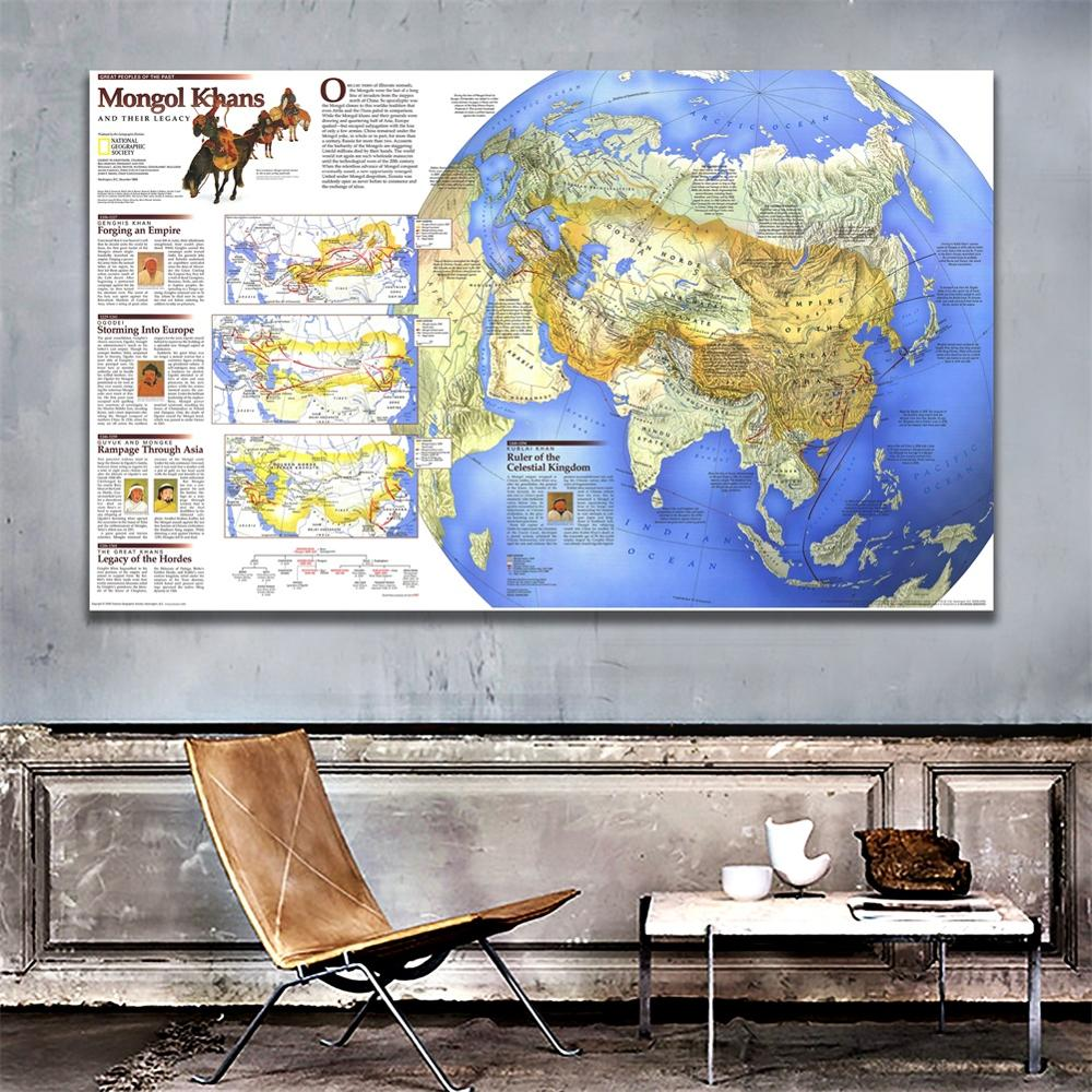 A2 Size 1996 Edition The Wall Decor Map Of Mongal Khans And Their Legacy Fine Canvas Spray Painting For Office Wall Decor