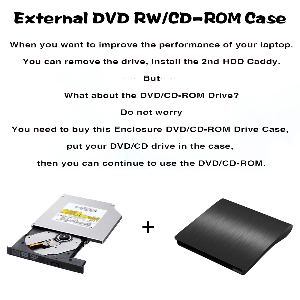 9.0/9.5/12.7mm USB3.0 SATA Blu-ra Optical Drive Case Kit External Mobile Enclosure DVD/CD Case For Notebook Laptop Without Drive
