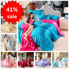 4pcs Satin Silk Bedding Set Luxury Queen King Size Bed Set Quilt Duvet Cover Linens And Pillowcase For Single Double Bedclothes(China)