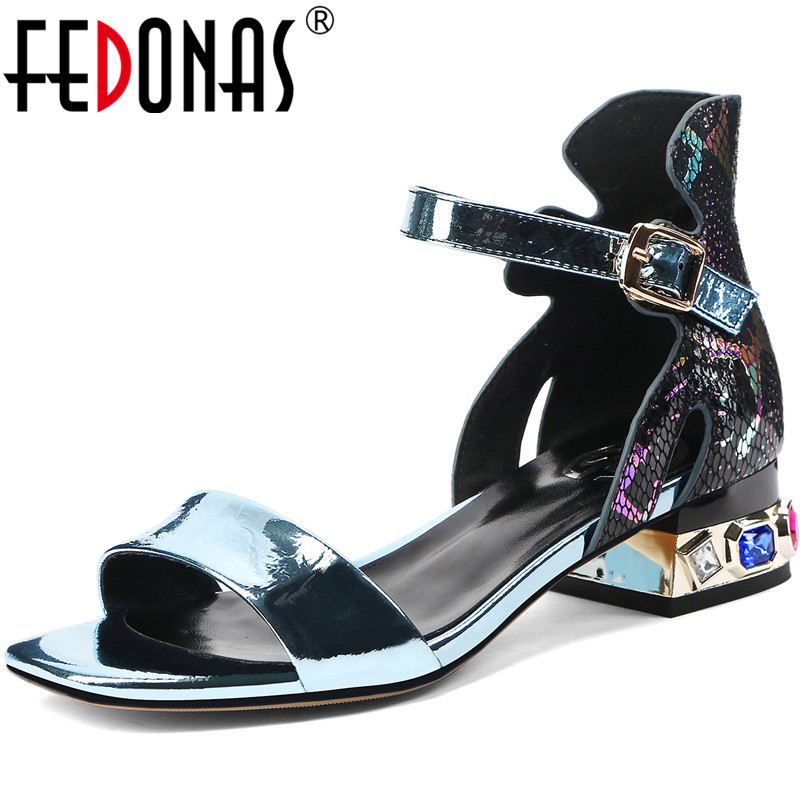 FEDONAS Sexy Rhinestone Ladies Shoes Dancing Party High Heels Pumps Spring Summer Peep Toe Genuine Leather 2020 New Shoes Woman