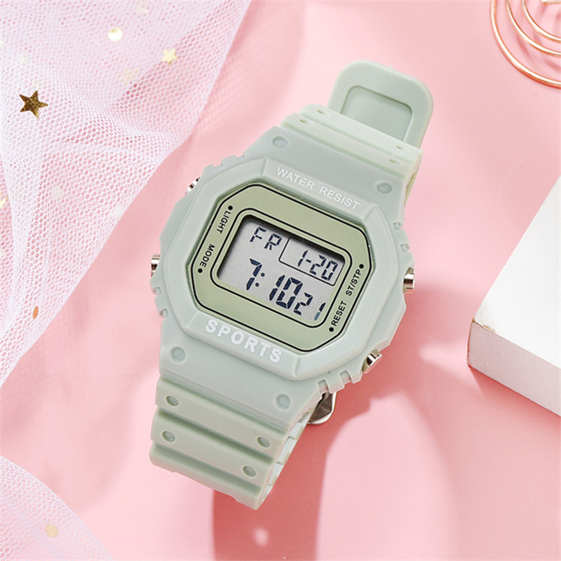 Korean Candy Color Women Watch Style Electronic Ladies Watch Ins Waterproof Sports Digital Watch Female Clock Relogio Feminino