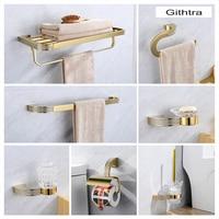 Bath Hardware Set Gold European Luxury Crystal Gold Bathroom Accessories Set Soap Dish Wall Mounted Towel Paper Holder