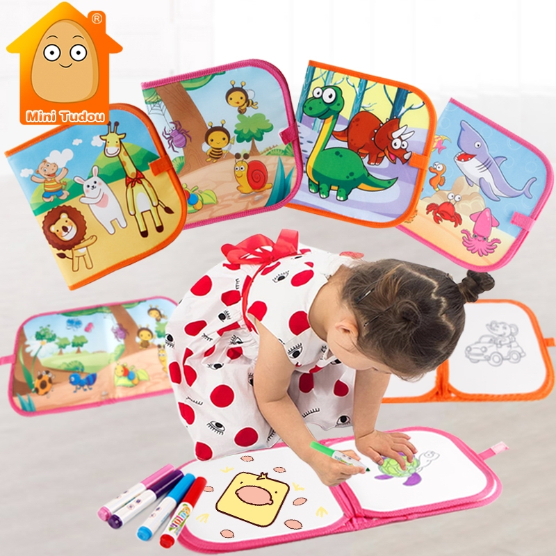 Children's Portable Magic Water Drawing Book Innovative Toy Painting Colorful Cloth Book Baby Early Educational Learning Toys