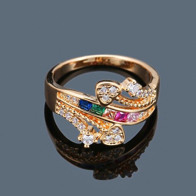 Breloque femme dames coloré Zircon pierre anneau créatif couleur or couleur croix anneau promesse coeur fiançailles anneaux pour les femmes