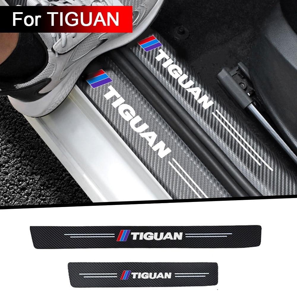 4 шт. автомобильные наклейки на порог из углеродного волокна для Tiguan mk2 2016 2017 2018 2019 2020 аксессуары