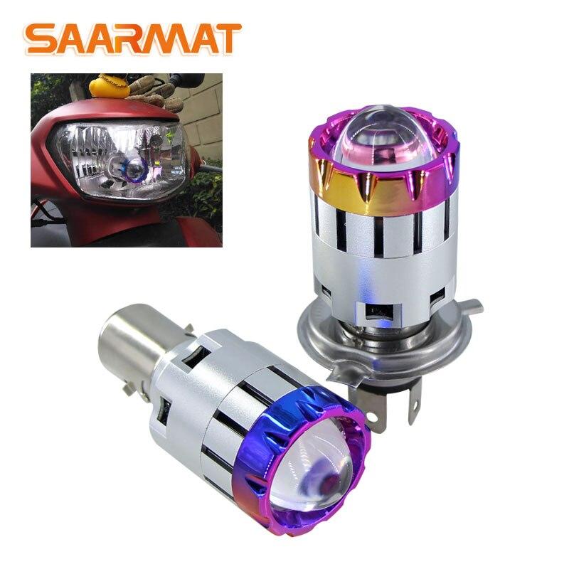 1Pcs H4 BA20D H6 Moto LED Headlight Bulbs Mini H4 Bi-LED Projector Lenses Car Motorcycle Light Accessories Styling Hi/Lo Beam