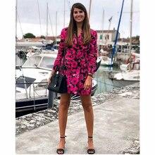 Women Vintage Floral Print Boho Long Red Za Blazer 2019 Autumn-spring Fashion Si
