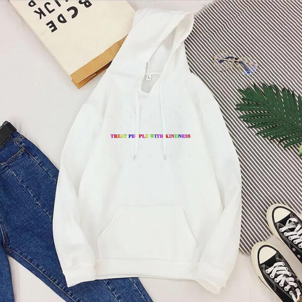Treat People with Kindness Sweatshirt Streetwear Fashion Tops Letter Pullovers Women 2020 Harry Styles Hoodies Aesthetic 5