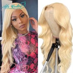 Ali Grace Blonde 613 perruque avant en dentelle pré-plumée 5x5 fermeture à lacets perruques de cheveux humains avec des cheveux de bébé perruques de vague de corps pour femme noire