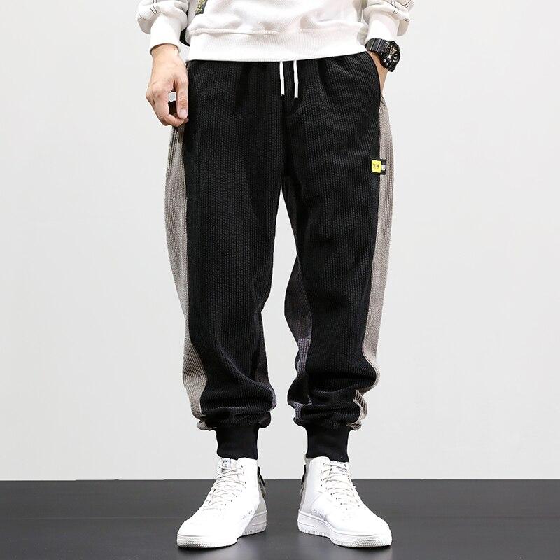 Autumn Winter Fashion Men Jeans Loose Fit Spliced Designer Harem Pants Casual Warm Corduroy Trousers Hip Hop Joggers Pants Men