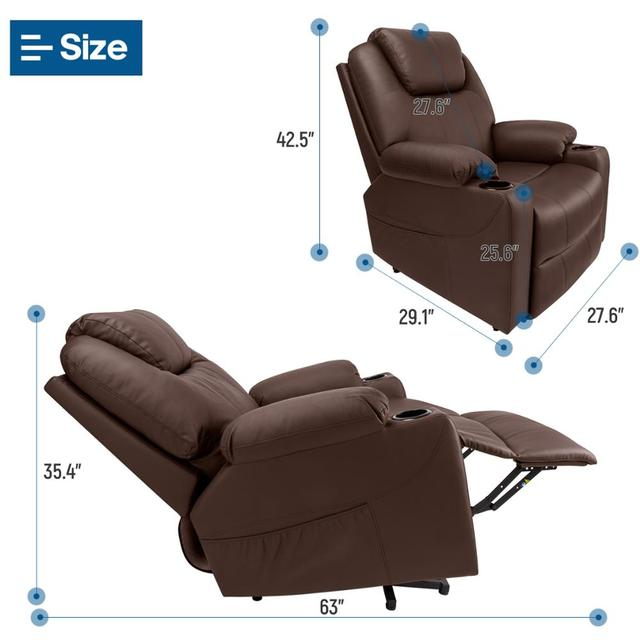 Leather Massage Chair w/ Power Lift  5