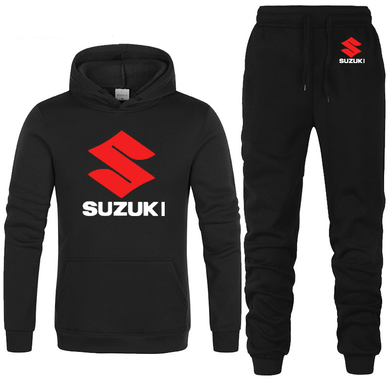 Hoodies Men Suzuki Car Logo Printed Unisex Sweatshirt Fashion Men Hoodie Hip Hop Harajuku Casual Fleece Hoodies Pants Suit 2Pcs