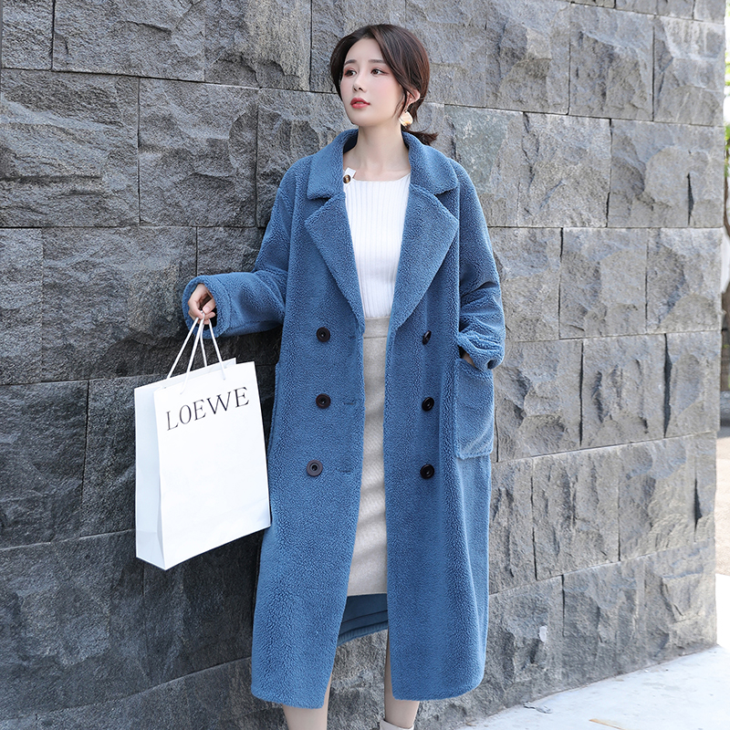 2020 New Grain Cashmere Coat Female Long Section Double Breasted Full Sleeve Loose Compound Lamb Fur Fur Grass Coat Tide S-XL