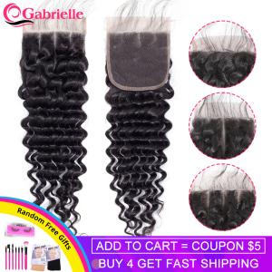 Gabrielle Brazilian Deep Wave Closure Free/Middle/Three Part Remy Human Hair Closure Pre-Plucked with Baby hair 4x4 Lace Closure