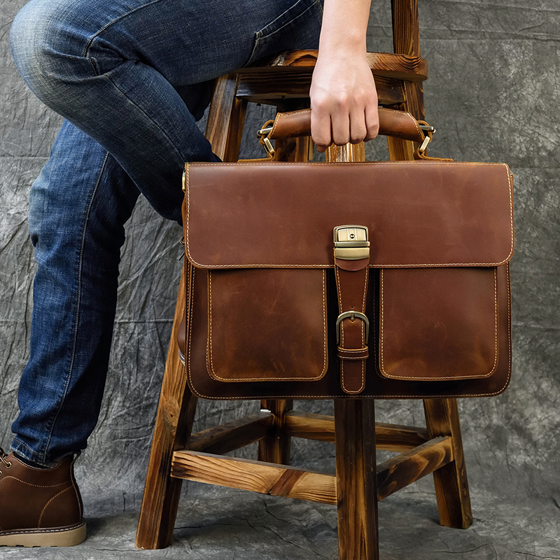 Luufan 42cm Large Men Leather Briefcase 15.6 Inch Leather Laptop Bag Shoulder Bag Real Cowskin Briefcase Male Work Totes Brown