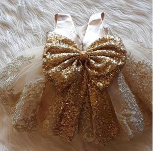 Платье для маленьких девочек с блестками, платье из фатина с золотым кружевным бантом, платье для крещения, Одежда для новорожденных, одежда...