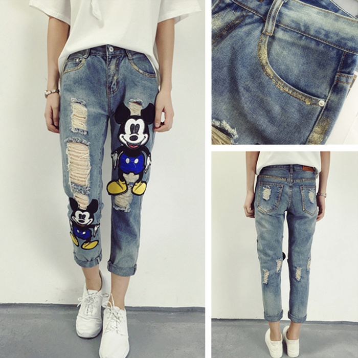New Arrival Womens Jeans Europe New Female Pants Bronzing Cartoon Cloth Loose Hole Ankle Length Denim Ripped Jeans For Women