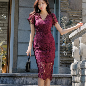 Image 3 - H Han Queen Sexy Hollow Out Lace Pencil Dress Women Autumn New V neck Sheath Bodycon Dresses Casual Evening Party Club Vestidos