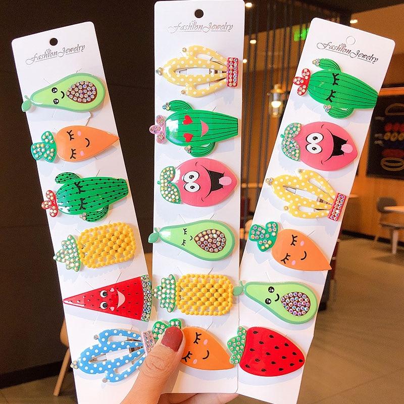 6PCS/Set New Girls Cute Cartoon Fruit Hairpins Children Sweet Hair Clips Barrettes Hair Ornament Kids Fashion Hair Accessories
