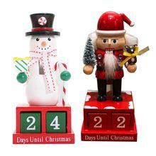 Рождество деревянный обратный отсчет оформление календарей в форме снеговика милое мультяшное украшение обратный отсчет календарь
