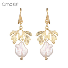 Fashion Natural Freshwater Pearl Gold Metal Leaves Earrings Vintage Baroque Ear Hook Female Drop Earring