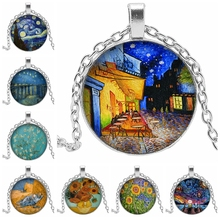 Hot 2019 Van Gogh Necklace Goghs Art Painting Glass Bullet Pendant Chain Fashion Jewelry Mens and Womens Necklac