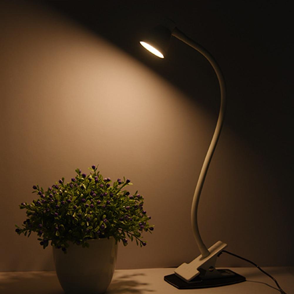 Usb зарядный зажим для чтения на регулируемой цветовой температуре 360 градусов вращающийся настольный свет настольная лампа домашняя отделка спальни - Цвет корпуса: Белый