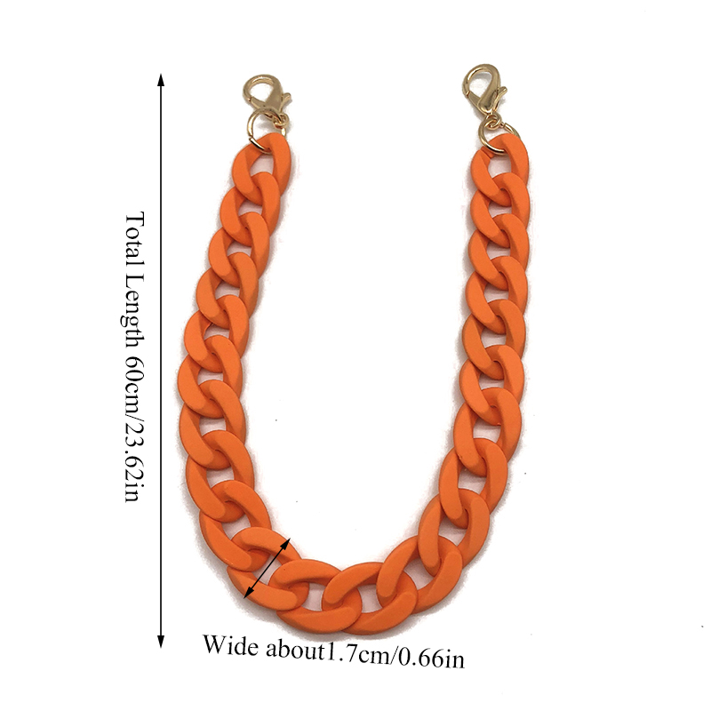 1 PC 60 DIY Fashion Colorful Detachable Acrylic Chain Handle Fish Bone Plastic Strap Shoulder Bags Accessories For Women