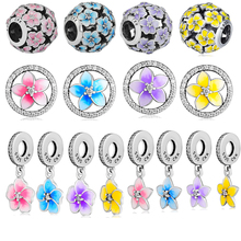 CKK Beads 100% 925 Sterling Silver Petals of Love Dangle Ball Primrose & Daisy Charm for Jewelry Making free shipping CKA0012