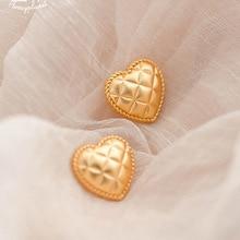 Vintage Gold Color Heart Shape Stud Earrings for Women Girls Retro Metal Geometric Statement Earrings Party Jewelry Oorbellen недорого