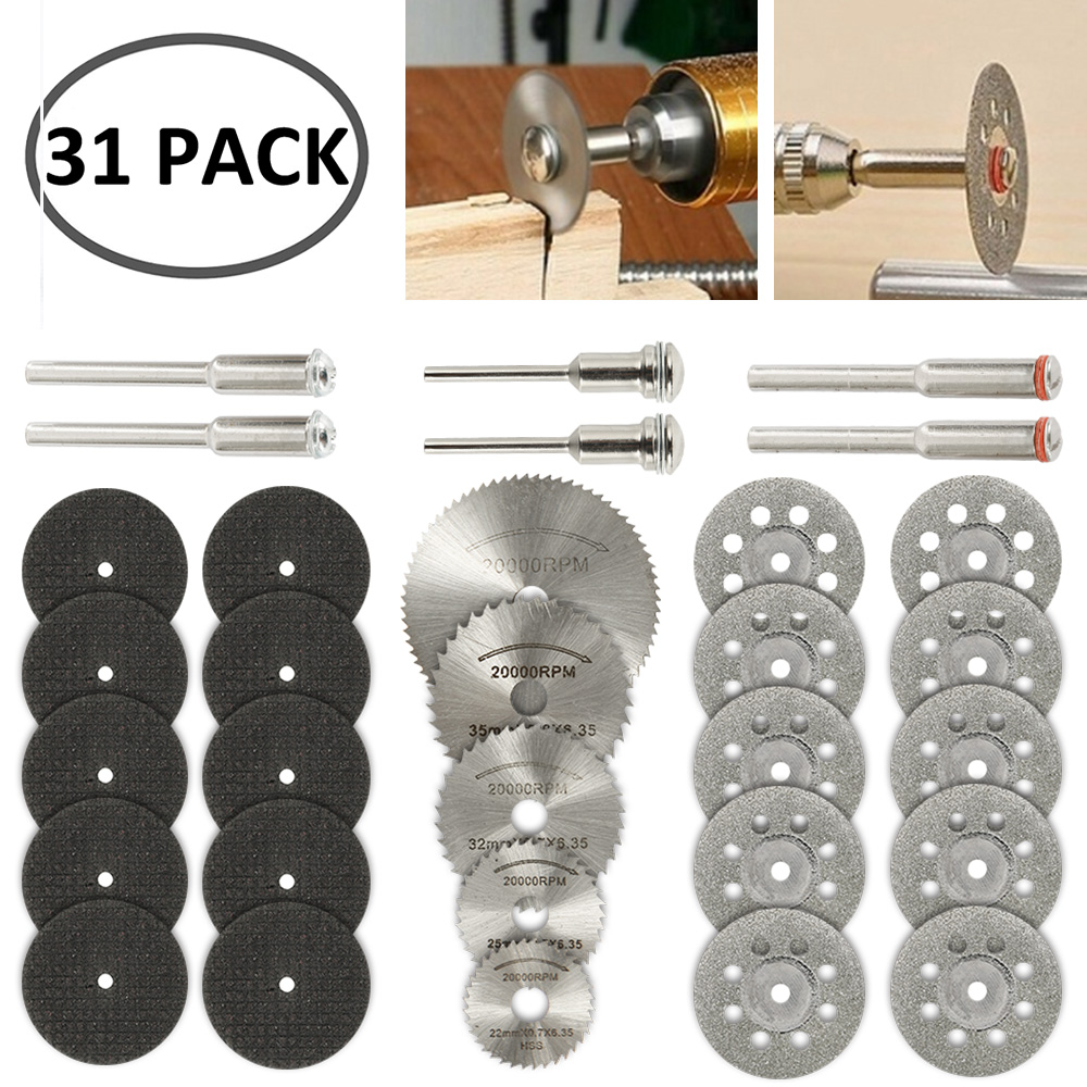 31pcs Diamond Cutting Wheels HSS Circular Saw Blade Rotary Woodworking Tool For Dremel Mini Drill Rotary Tool Accessories