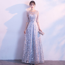Plus Size Navy Sheer Neck Beading Lace Up Vestido De Festa Sequins A line Formal Evening Dresses Long Sleeves Robe Prom Gowns