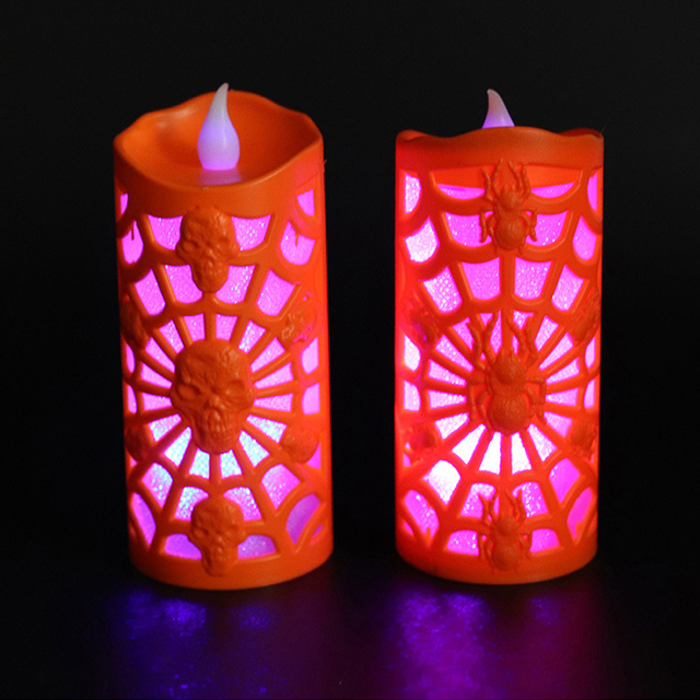 Décorations dhalloween bougies chauffe-plat lumineux toile daraignée non parfumée lumières colorées crâne LED lumières