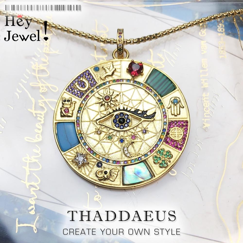 Halskette Amulett Magische Glück Symbole, 2021 neue Feine Schmuck Europa 925 Sterling Silber Bijoux Rad Von Vermögen Geschenk Für Frauen