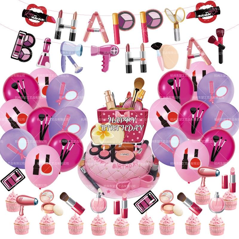 46 pçs/set Menina Batom Maquiagem Batom Sombra Dos Olhos Balões De Látex Balões de Aniversário Bandeira Bolo Topper Decorações Do Partido Suprimentos
