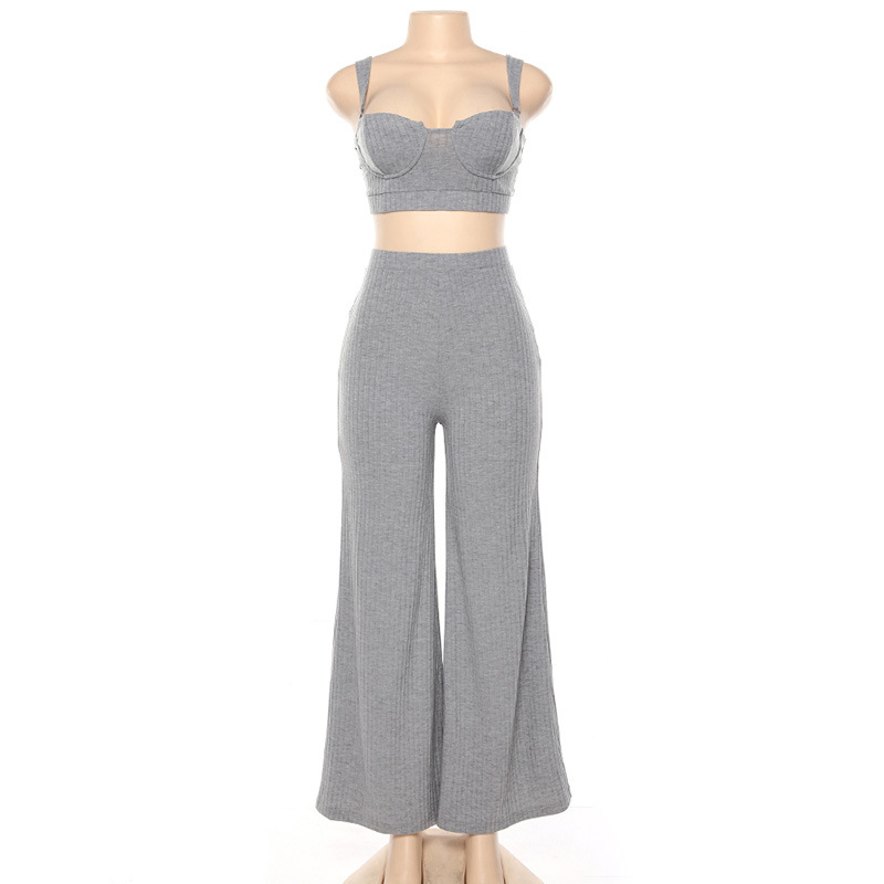 Two Piece Set Bra and Pants New Arrival 2021 European American Style Women Clothing Sets Sexy High Waist Wide Leg Pants & Top
