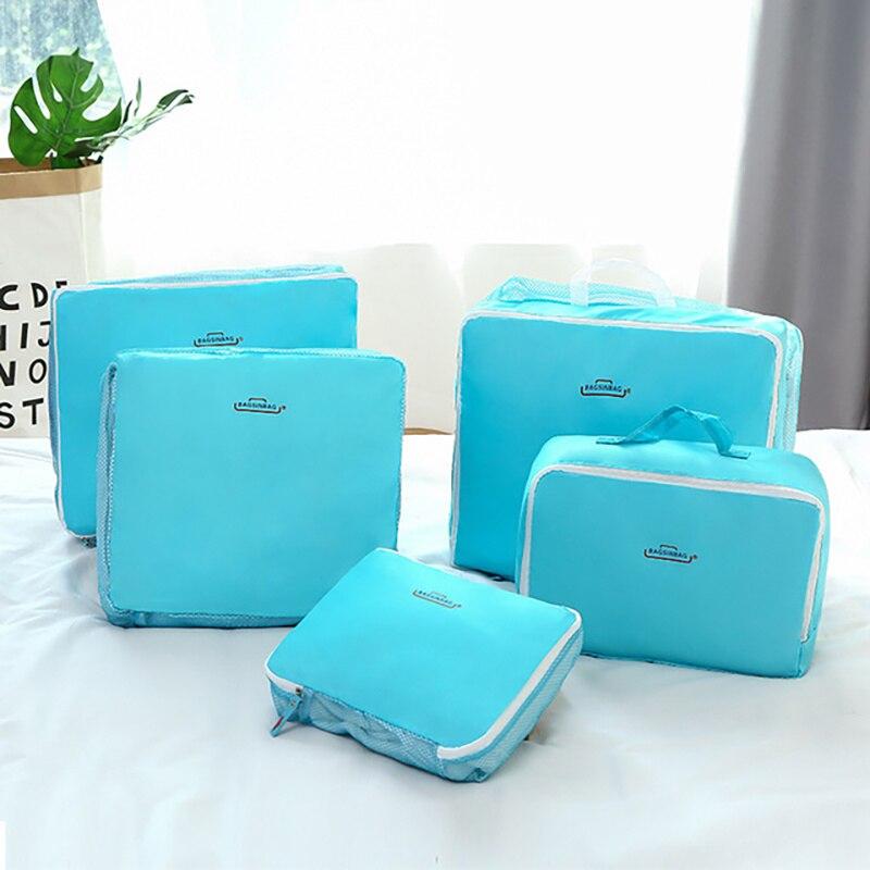 5 шт., органайзер для багажа, набор, органайзер для путешествий, сумка для хранения, 4 цвета, комплект одежды, сумка для путешествий, косметичк...