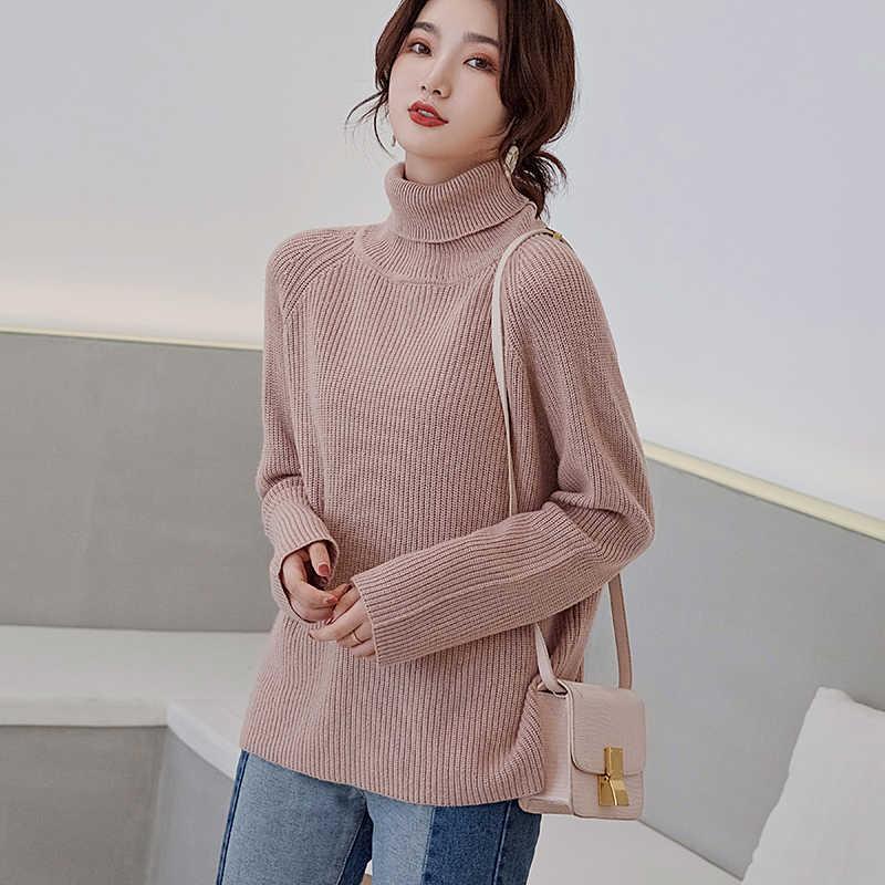 여성 스웨터 2019 겨울 새로운 두꺼운 게으른 느슨한 터틀넥 캐시미어 스웨터 여성 긴 소매 캐주얼 니트 풀 오버