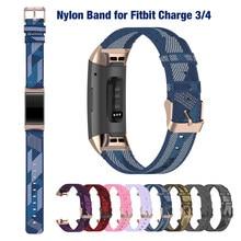 Woven Blau Armband für Fitbit Gebühr 4 Weiche Nylon Stoff Sport Handgelenk Band für Fitbit Gebühr 3 SE Ersatz Strap einstellbar