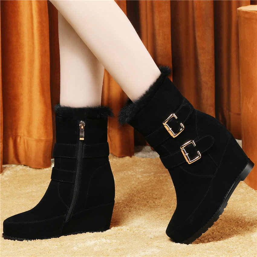 Punk Oxfords ayakkabı kadınlar siyah hakiki deri platformu takozlar yüksek topuk kar botları yüksek Top tavşan kürk kış parti pompaları ayakkabı