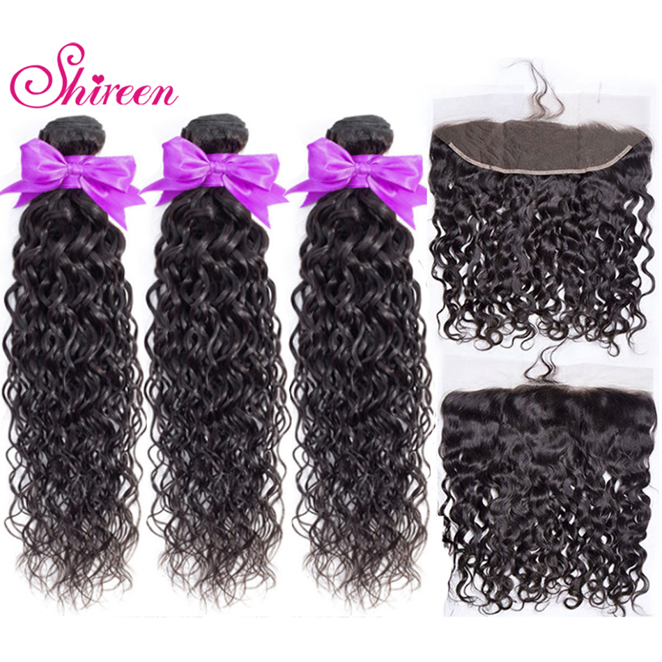 Brazilian Water Wave 3 Bundles With Lace Frontal Closure Shireen Remy 100% Human Hair Weave 13x 4 Lace Frontal With Bundles Deal