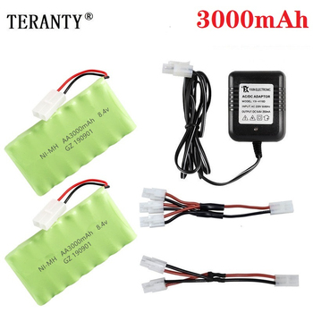 ( M Model ) Ni-MH 8.4v 3000mah Battery + 8.4v Charger For Rc toy Car Tank Train Robot Boat Gun AA 8.4v Rechargeable Battery Pack image