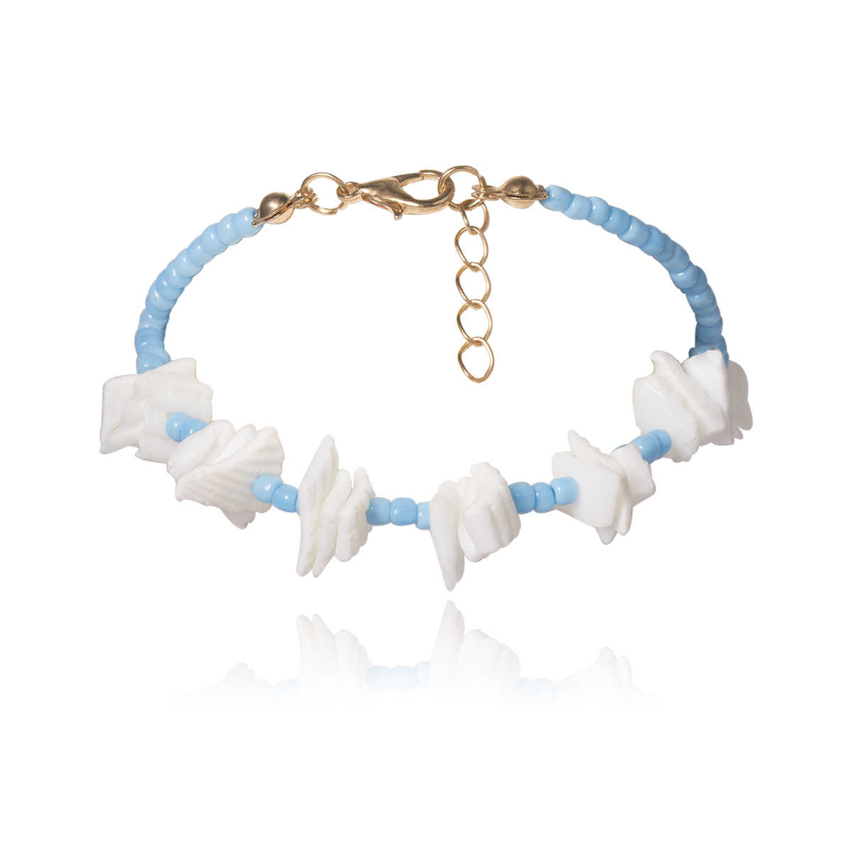 SHIXIN Irregular Puka Shell Chips pulsera Boho azul/naranja cuentas mano cadena encanto pulsera para mujer coreano pareja pulsera regalo