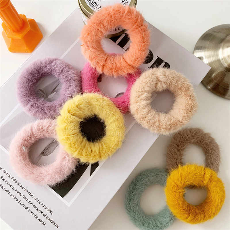 New Elegant solid Color Plush Elastic Hair Rubber Band For Women Winter Hair Scrunchies Ponytail Holder Girls Hair Accessories