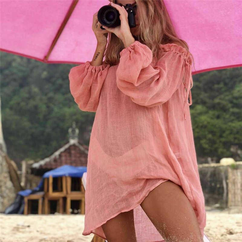 ローブフェムセクシー夏秋の女性ビーチウェア水着リネンタッセルビキニカバーアップ夏カフタントップドレスセクシーなカジュアルな女性の服