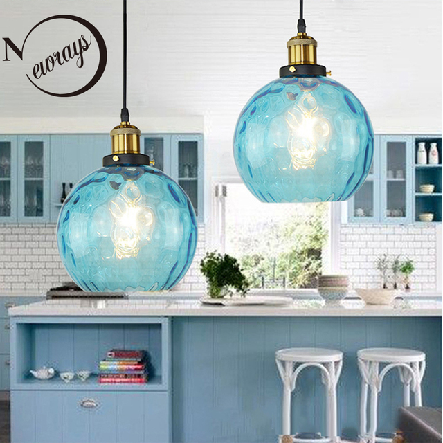 Современный стеклянный подвесной светильник в стиле лофт синего цвета, светодиодный винтажный скандинавский подвесной светильник E27 с 3 размерами для спальни, лобби, ресторана, офиса